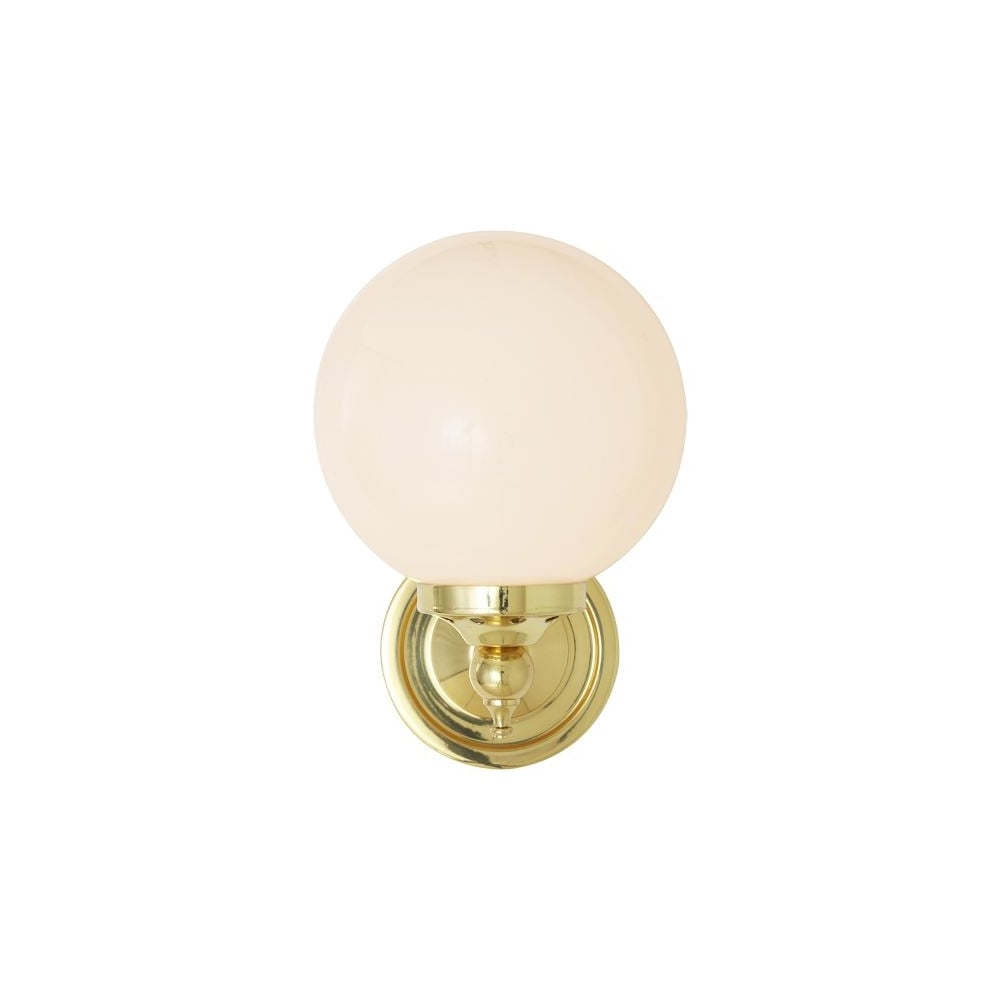 Opal glass globe polished brass wall light lighting and lights uk cloghan modern globe wall light in polished brass aloadofball Choice Image