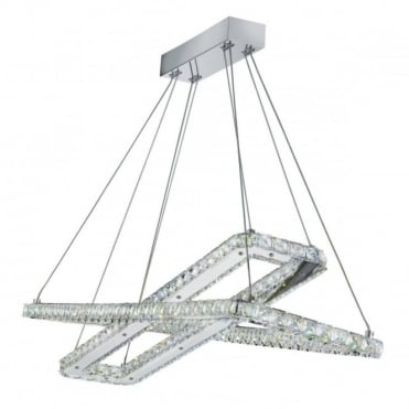 CLOVER - LED 2 X LED Rectangle Frame Ceiling Chrome Clear Cry