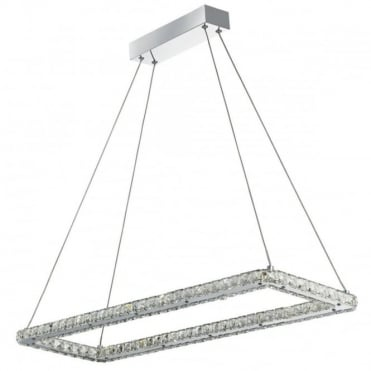 CLOVER - LED LED Rectangle Frame Ceiling Chrome Clear Crystal T