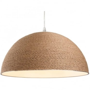 COAST - Brown Rope Domed Ceiling Pendant in Brown