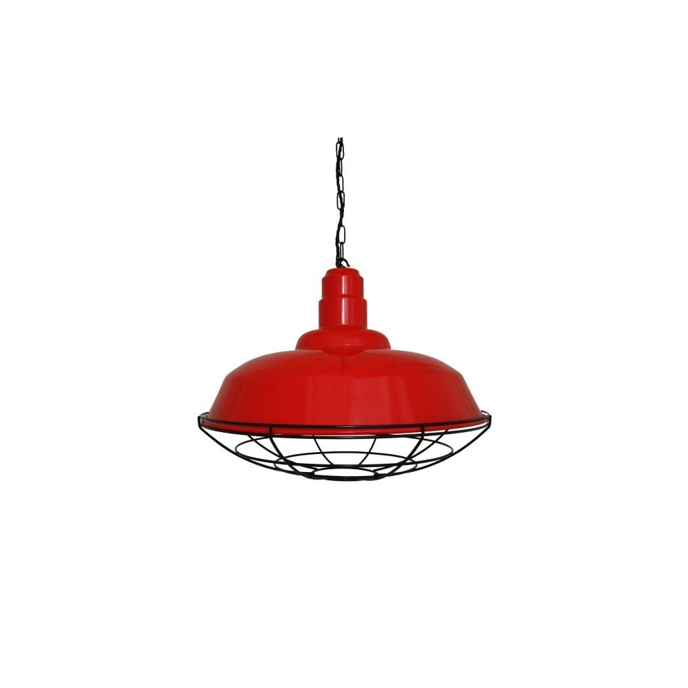 Wesco Industrial Uplight Pendant: Red Industrial Ceiling Pendant With Cage