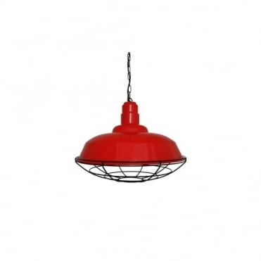 COBAL - Industrial Ceiling Pendant In Powder Coated Red