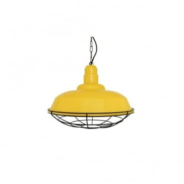 COBAL - Industrial Ceiling Pendant In Powder Coated Yellow