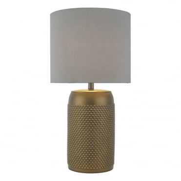 COIMBRA Dimple Ceramic Table Lamp in Bronze with Grey Shade