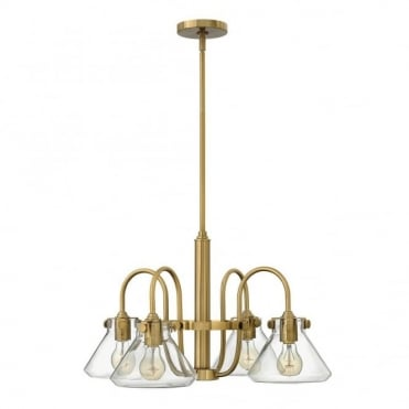 CONGRESS - Tapered Clear Glass 4 Light Chandelier in Antique Brass, Clear