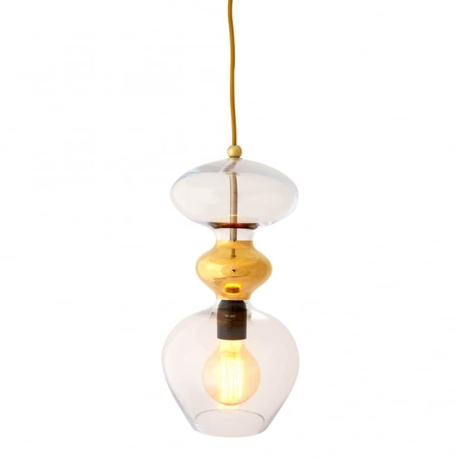 Copenhagen Glass Collection FUTURA - Clear And Gold Glass Ceiling Pendant (Large)