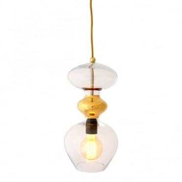 FUTURA - Clear And Gold Glass Ceiling Pendant (Large)