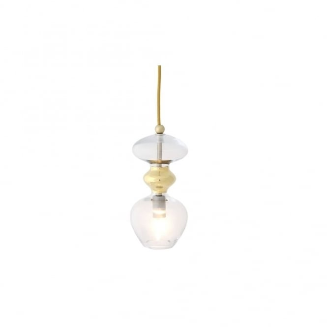 Copenhagen Glass Collection FUTURA - Clear And Gold Glass Ceiling Pendant (Small)