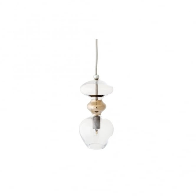 FUTURA - Clear And Platinum Glass Ceiling Pendant (Small)