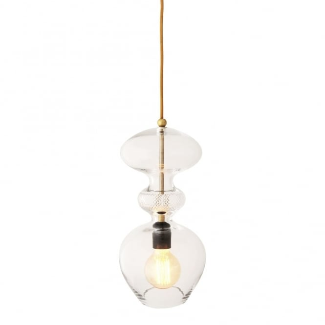 Copenhagen Glass Collection FUTURA - Crystal And Gold Glass Ceiling Pendant (Large)