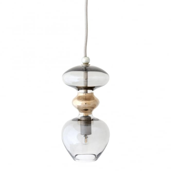 Copenhagen Glass Collection FUTURA - Smokey Grey Glass Ceiling Pendant (Small)