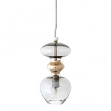 FUTURA - Smokey Grey Glass Ceiling Pendant (Small)