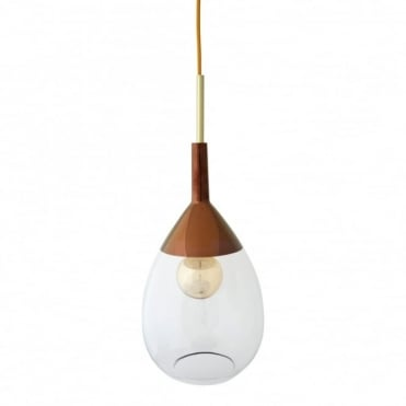 LUTE - Clear Glass And Copper Ceiling Pendant