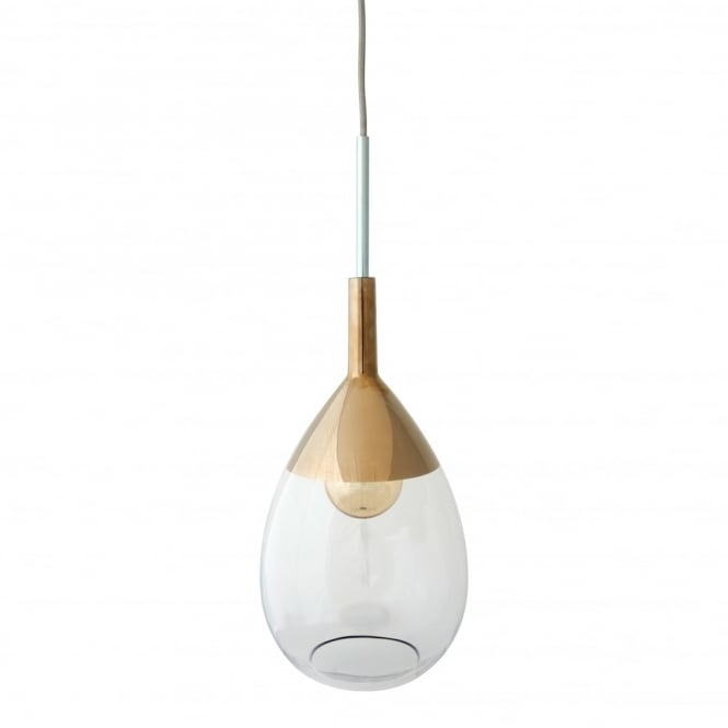Copenhagen Glass Collection LUTE - Clear Glass And Platinum Ceiling Pendant