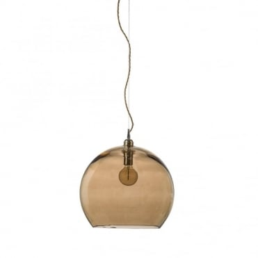 ROWAN - Golden Smoked Glass Ceiling Pendant Light (Large)