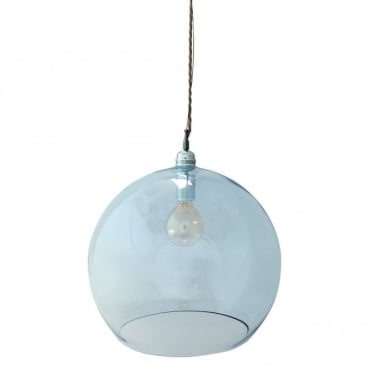 ROWAN - Large Transparent Topaz Blue Glass Ceiling Pendant Light