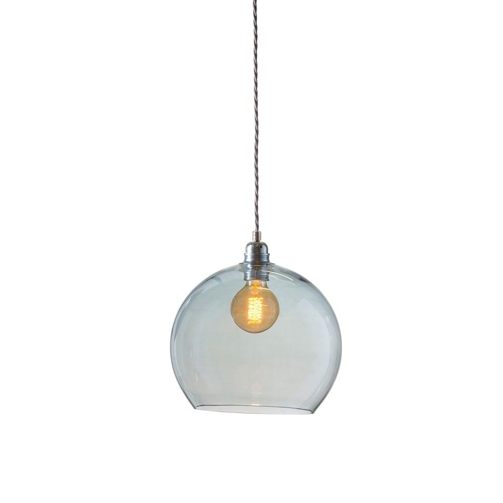 mouthblown globe topaz blue glass pendant lighting and