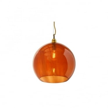ROWAN - Rust Coloured Glass Ceiling Pendant With Gold Cable (Large)