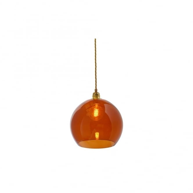 ROWAN - Rust Coloured Glass Ceiling Pendant With Gold Cable (Medium)
