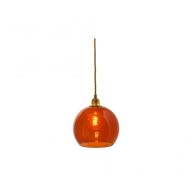 Copenhagen Glass Collection ROWAN - Rust Coloured Glass Ceiling Pendant With Gold Cable (Small)