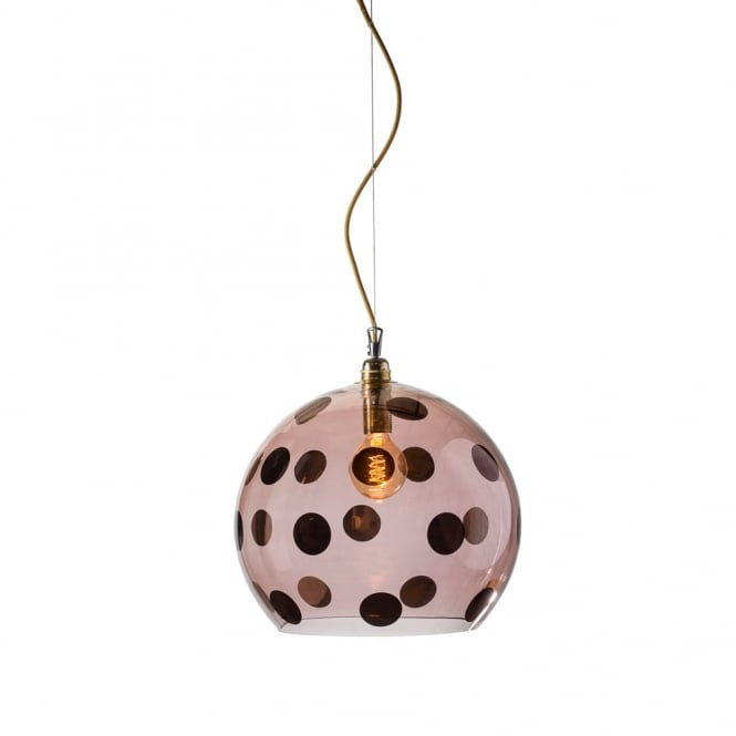 Copenhagen Glass Collection ROWAN - Transparent Obsidian Glass Ceiling Pendant With Copper Dots (Large)