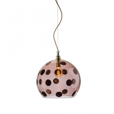 ROWAN - Transparent Obsidian Glass Ceiling Pendant With Copper Dots (Large)