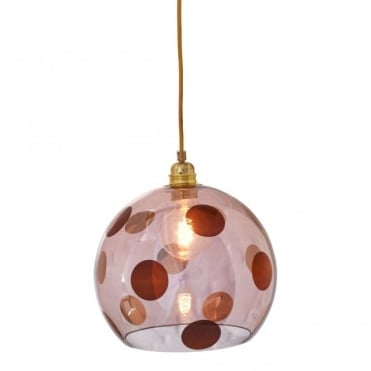 ROWAN - Transparent Obsidian Glass Ceiling Pendant With Copper Dots (Medium)