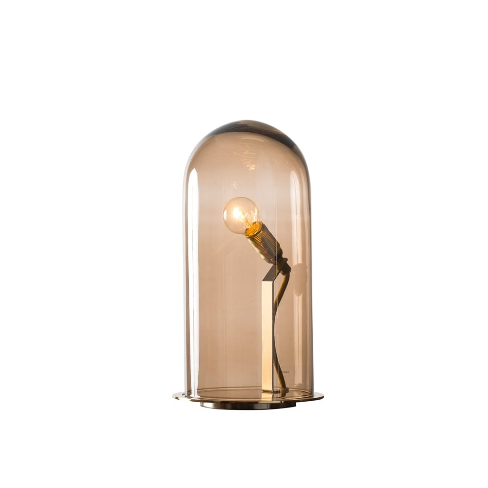 SPEAK   Up! Glow In A Dome Chestnut Brown Glass Table Lamp (Large)
