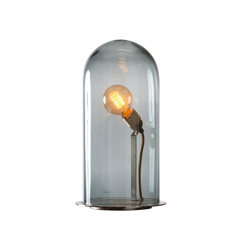 SPEAK   Up! Glow In A Dome Smoky Grey Glass Table Lamp (Extra Large