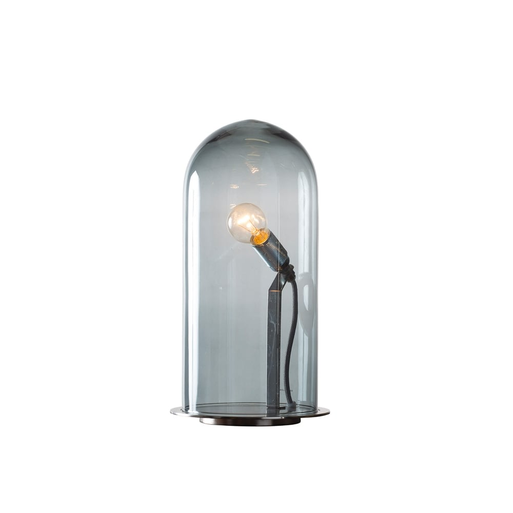 SPEAK   Up! Glow In A Dome Smoky Grey Glass Table Lamp (Large)