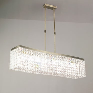 CORTINA Telescopic Pendant Bar 8 Light G9 Antique Brass/Crystal