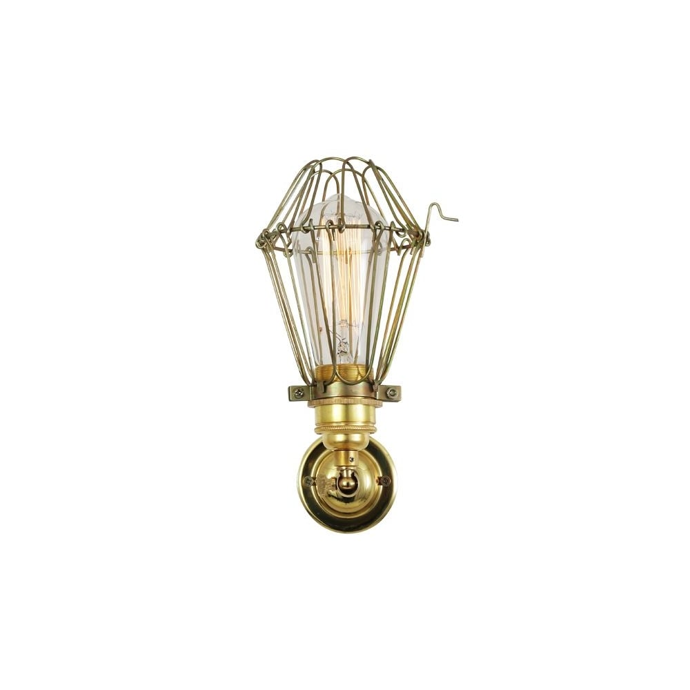 industrial cage lighting. COTONOU - Industrial Cage Wall Light In Polished Brass Lighting H