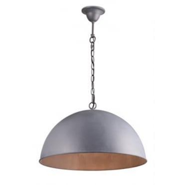 CUPULA Large Dome Ceiling Pendant Lead Grey Finish