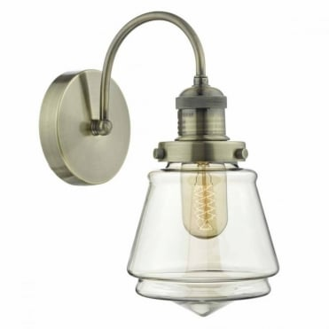 CURTIS - Antique Brass and Champagne Wall Light , Switched