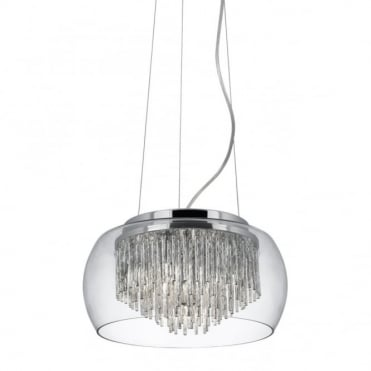 CURVA - Modern Ceiling Pendant With Aluminium Tubes And Glass Shade