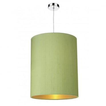 CYLINDER Large Cylindrical Ceiling Shade in Green with Gold Lining