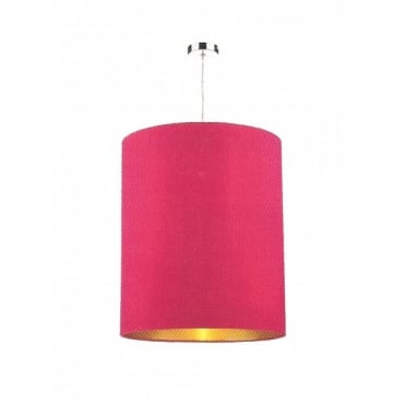 CYLINDER large pink cylindrical silk light shade lined in gold