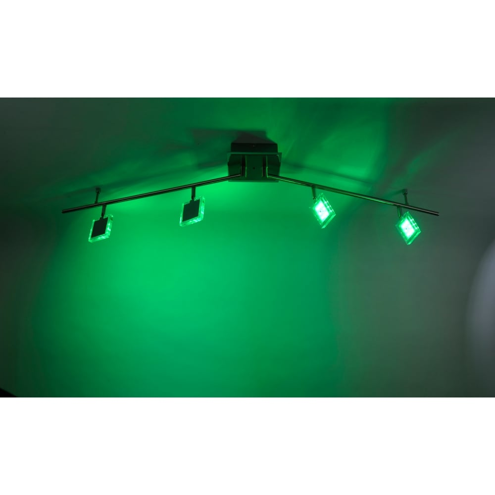 Rgb colour changing 4 light led modern spotlight chrome remote control daan rgb colour changing dimmable led ceiling light chrome in chrome aloadofball Images
