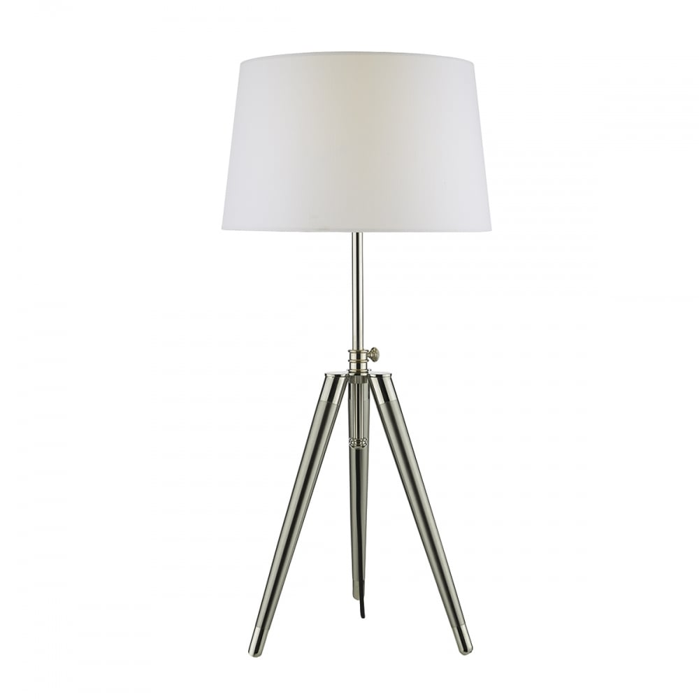 Tripod style table lamp nickel chrome lighting and lights uk dacia table lamp brushed nickel complete with shade satin chrome aloadofball Image collections