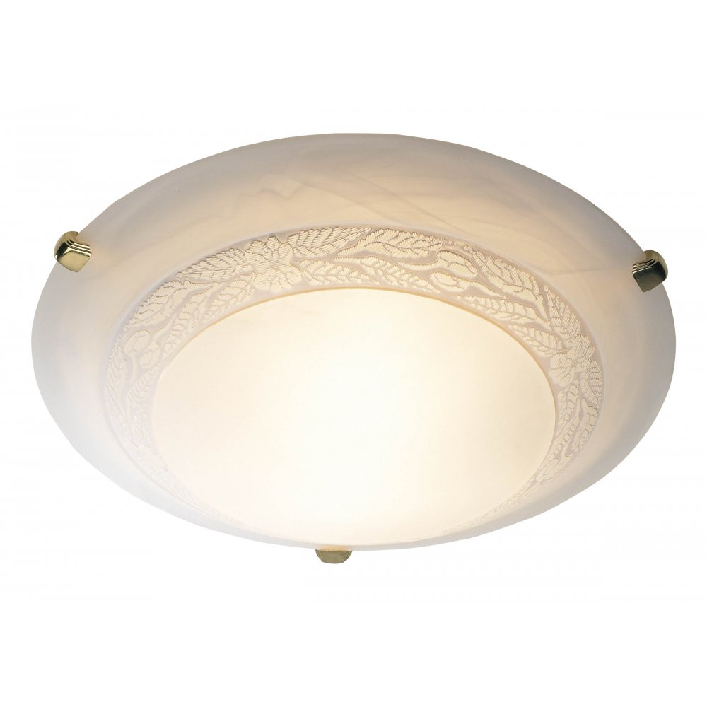 Decorative Traditional Flush Ceiling Light With Marble Effect Glass - Low energy ceiling lights for kitchen