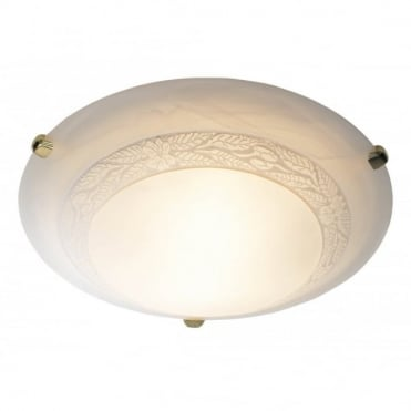 DAMASK - Circualr Flush Ceiling Fitting Ceiling Light With Alabaster Glass Shade