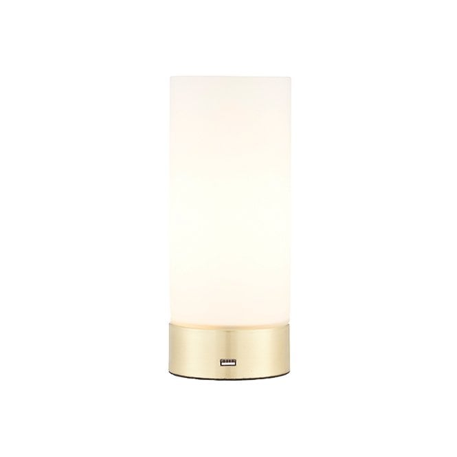 DARA USB Table Lamp Brushed Brass With Opal Glass Shade