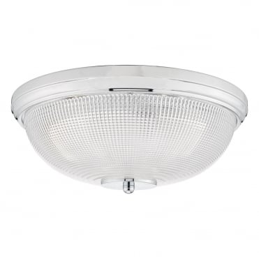 DATO 3 Light Polished Chrome Flush Ceiling Light with Prismatic Glass Shade