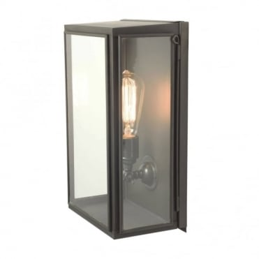 BOX - Exterior Wall Light Glazed Medium Weathered Brass Clear Glass