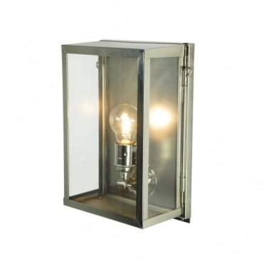 BOX - Exterior Wall Light Glazed Small Satin Nickel Clear Glass