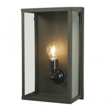 BOX - Outdoor Wall Light Glazed Medium Weathered Brass Clear Glass