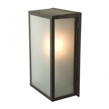 BOX - Outdoor Wall Light Glazed Medium Weathered Brass Frosted Glass