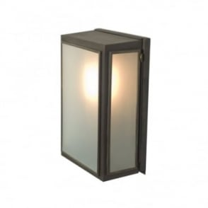 BOX - Outdoor Wall Light Glazed Small Weathered Brass Frosted Glass