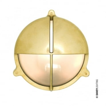 BRASS - Exterior Bulkhead With Eyelid Shield Large Natural Brass