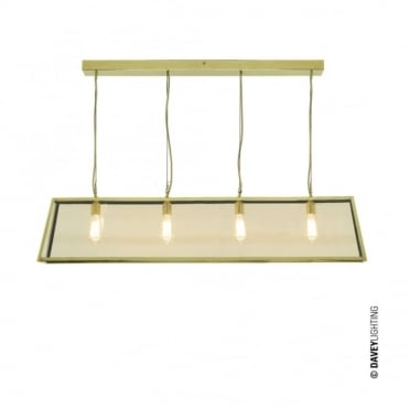DINER - Polished Brass 4 Light Glazed Ceiling Pendant Bar